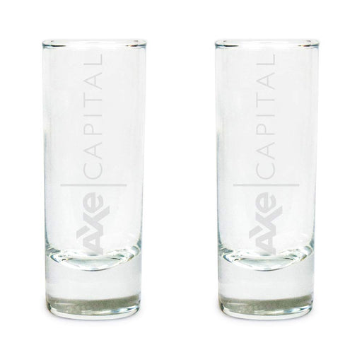 AXE Capital Set Of Two Tall Shot Glasses Premium Etched By Movies On Glass Includes Two Glasses - Two Ounces