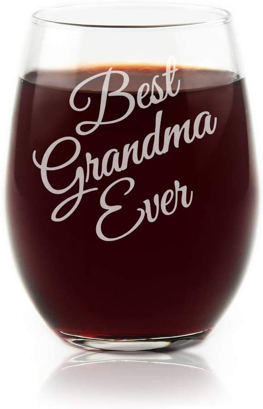 Best Grandma Ever Stemless Wine Glass Collectible Premium Etched By Movies On Glass 15 Ounces