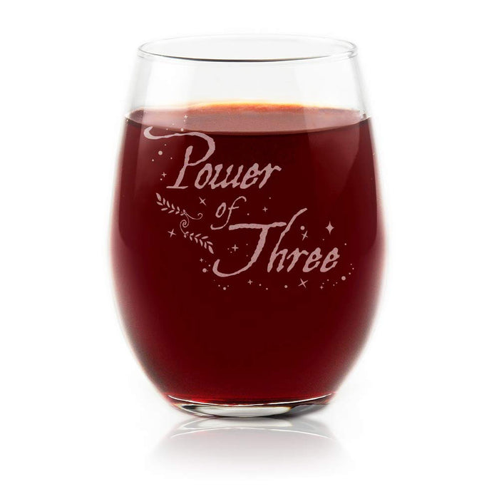 Charmed Power Of Three Stemless Wine Glass Officially Licensed Collectible Premium Etched By Movies On Glass 15 Ounces