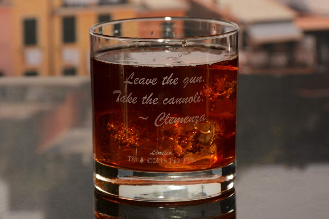 "The Godfather Movie Whiskey Glass With Quote,""Leave the gun. Take the cannoli."" ~ Clemenza Officially Licensed Collectible Premium Etched By Movies On Glass Includes One Glass - 11 Ounces"