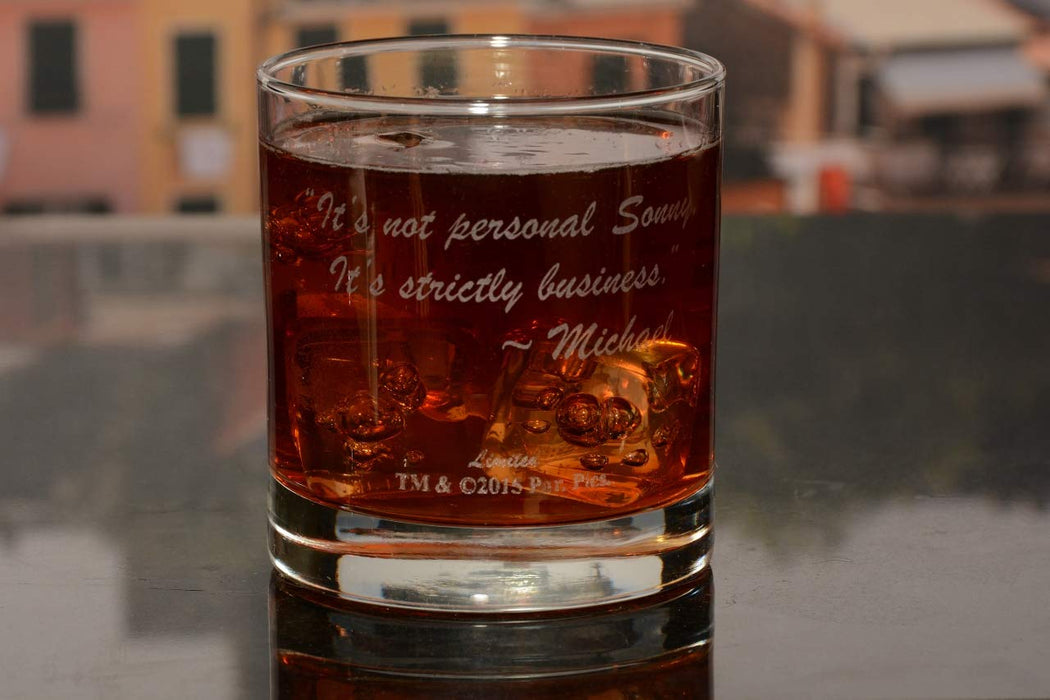"The Godfather Movie Whiskey Glass with Quote,""It's not personal Sonny. It's strictly business."" ~ Michael Officially Licensed Collectible Premium Etched By Movies On Glass Includes One Glass - 11 Oz."