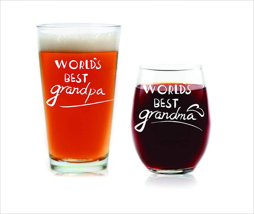 Grandparents Gifts New Grandparents Pregnancy Announcement World's Best Grandpa Beer Glass World's Best Grandma Wine Glass