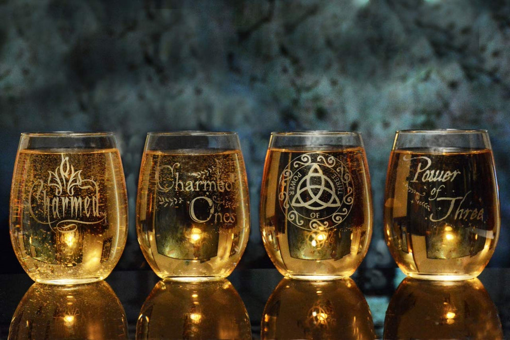 Charmed Triquetra Stemless Wine Glass Officially Licensed Collectible Premium Etched By Movies On Glass 15 Ounces