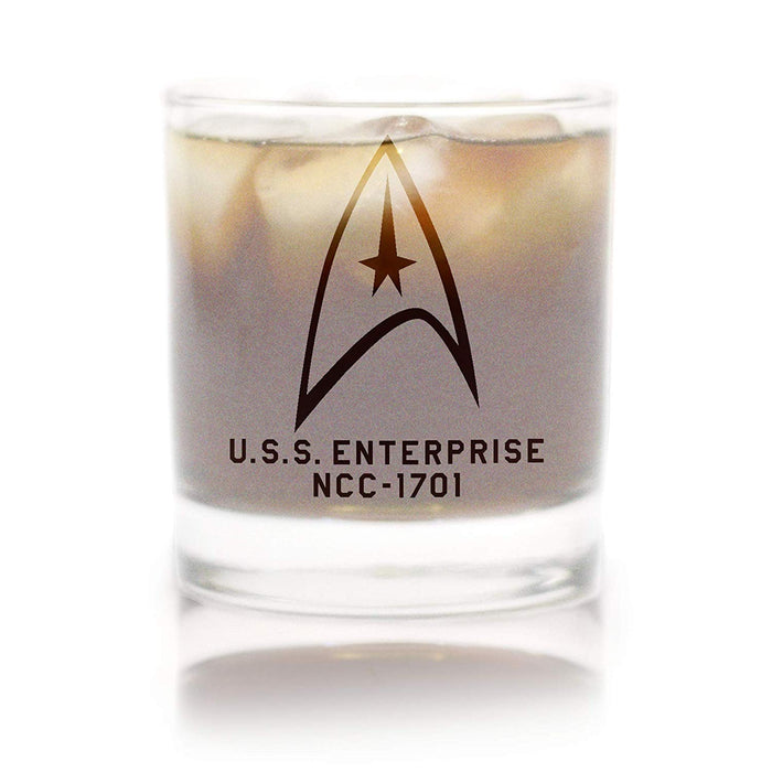 Star Trek: The Original Series Starfleet Command Badge Rocks Glass Special Edition In Universe™ White Frosted Line Premium Etched By Movies On Glass Includes One Glass - 11 Ounces