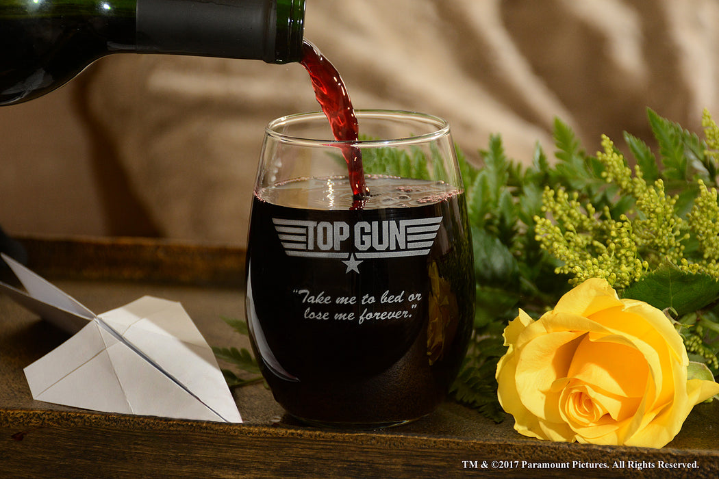 "Premium Etched Top Gun Movie Logo With Quote ""Take Me To Bed Or Lose Me..."" Engraved Stemless Glass"