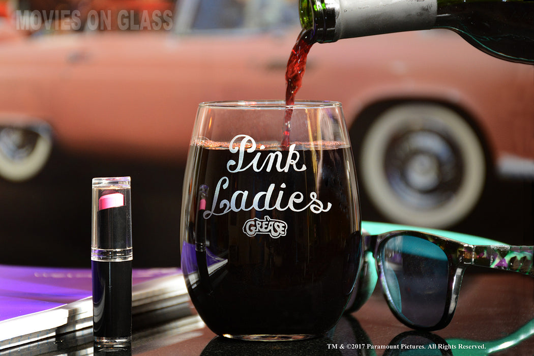Movies On Glass - Premium Etched Pink Ladies Grease Movie Engraved Logo Stemless Wine Glass