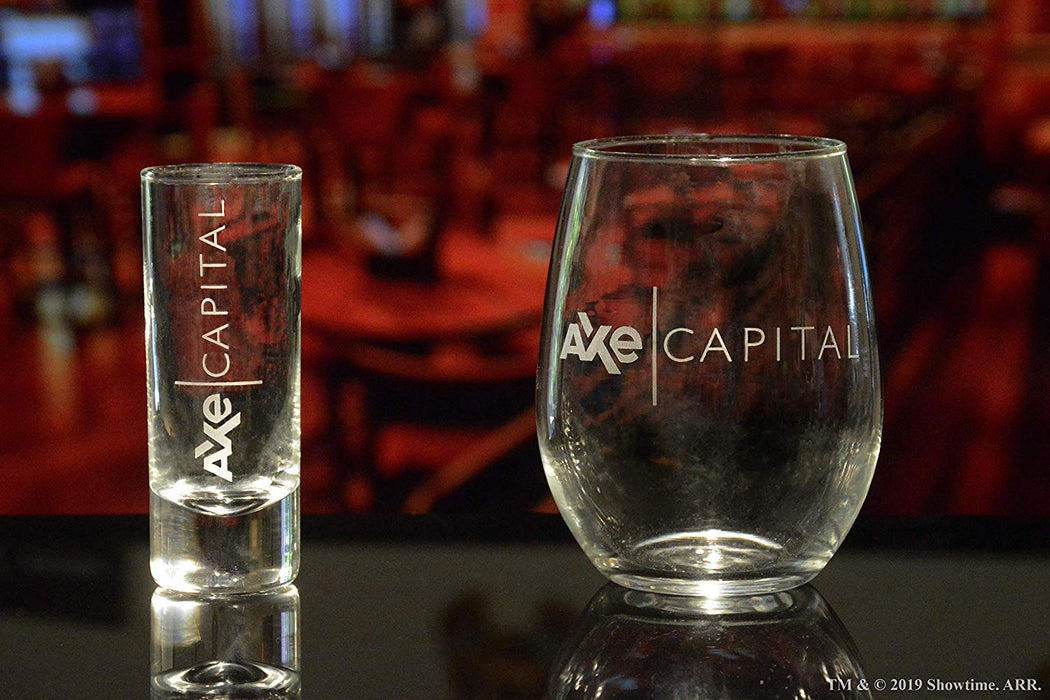 AXE Capital (BILLIONS) Stemless Wine Glass Officially Licensed Collectible Premium Etched By Movies On Glass 15 Ounces