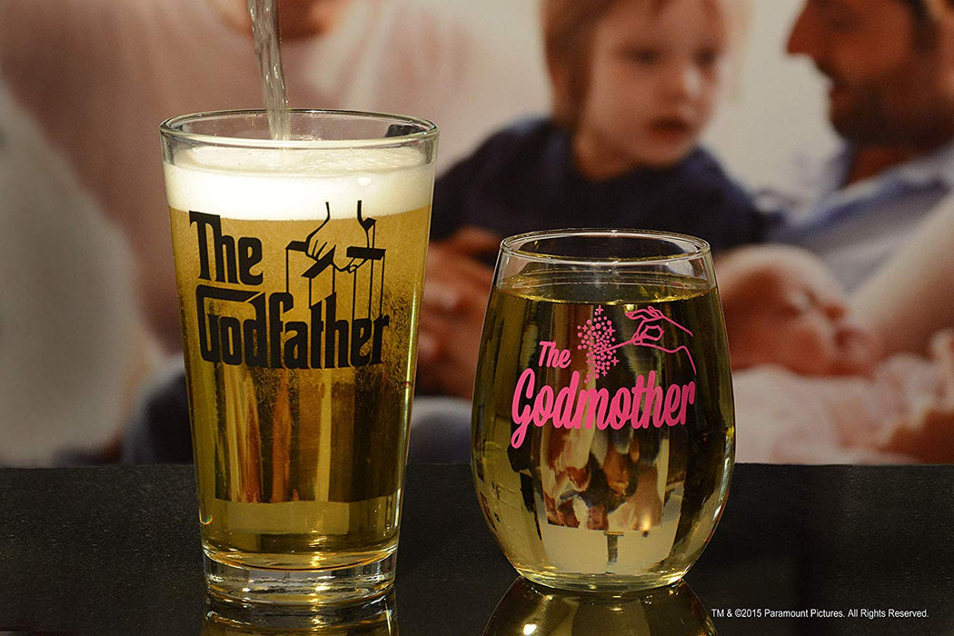 Godparent Gifts Set Godfather Pint Glass And Pink Godmother Stemless Wine Glass