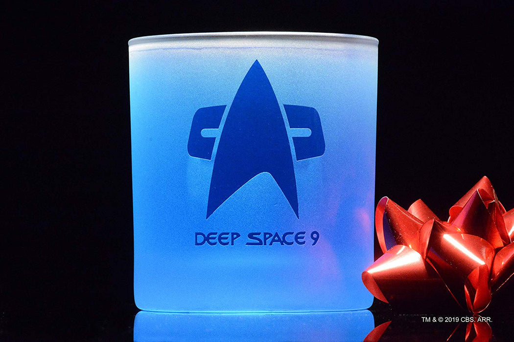 Star Trek: Deep Space 9 Starfleet Command Badge Rocks Glass Special Edition In Universe™ White Frosted Line Premium Etched By Movies On Glass Includes One Glass - 11 Ounces