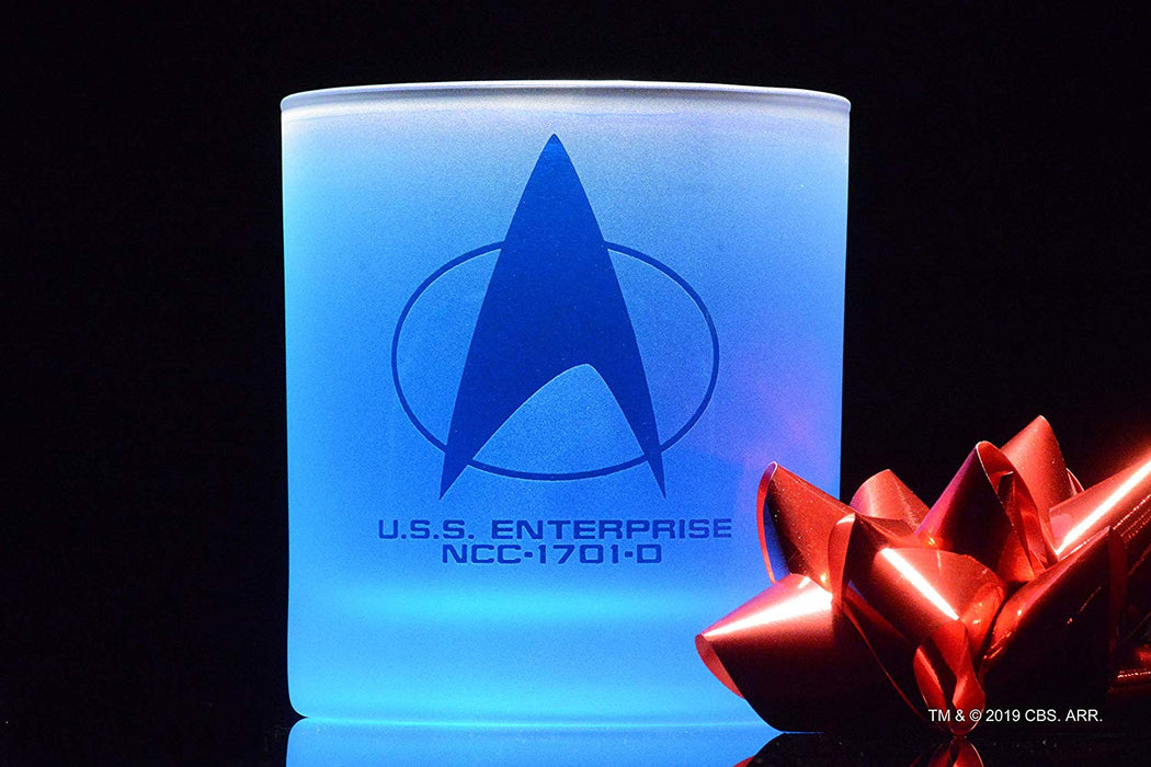 Star Trek: The Next Generation Starfleet Command Badge Rocks Glass Special Edition In Universe™ White Frosted Line Premium Etched By Movies On Glass Includes One Glass - 11 Ounces