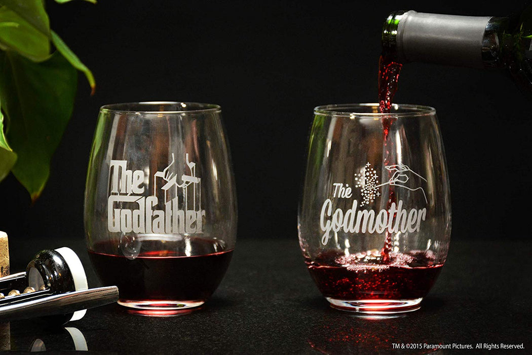 Godparent Wine Glass Gift Set Stemless