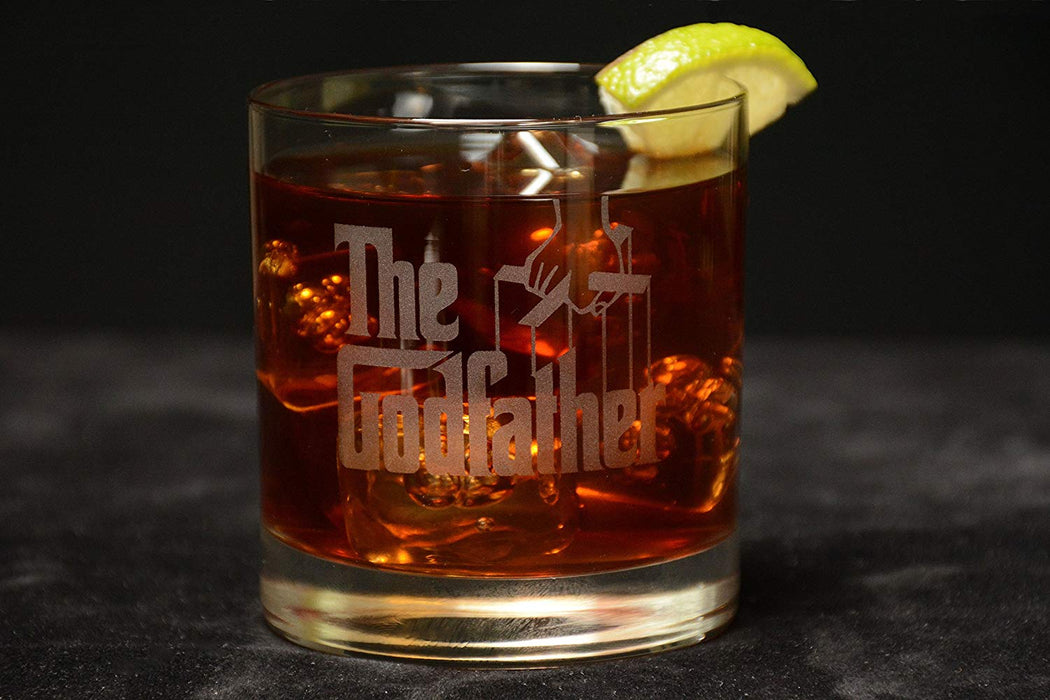 "The Godfather Movie Whiskey Glass with Quote,""Don't ask me about my business."" ~ Michael Officially Licensed Collectible Premium Etched By Movies On Glass Includes One Glass - 11 Ounces"