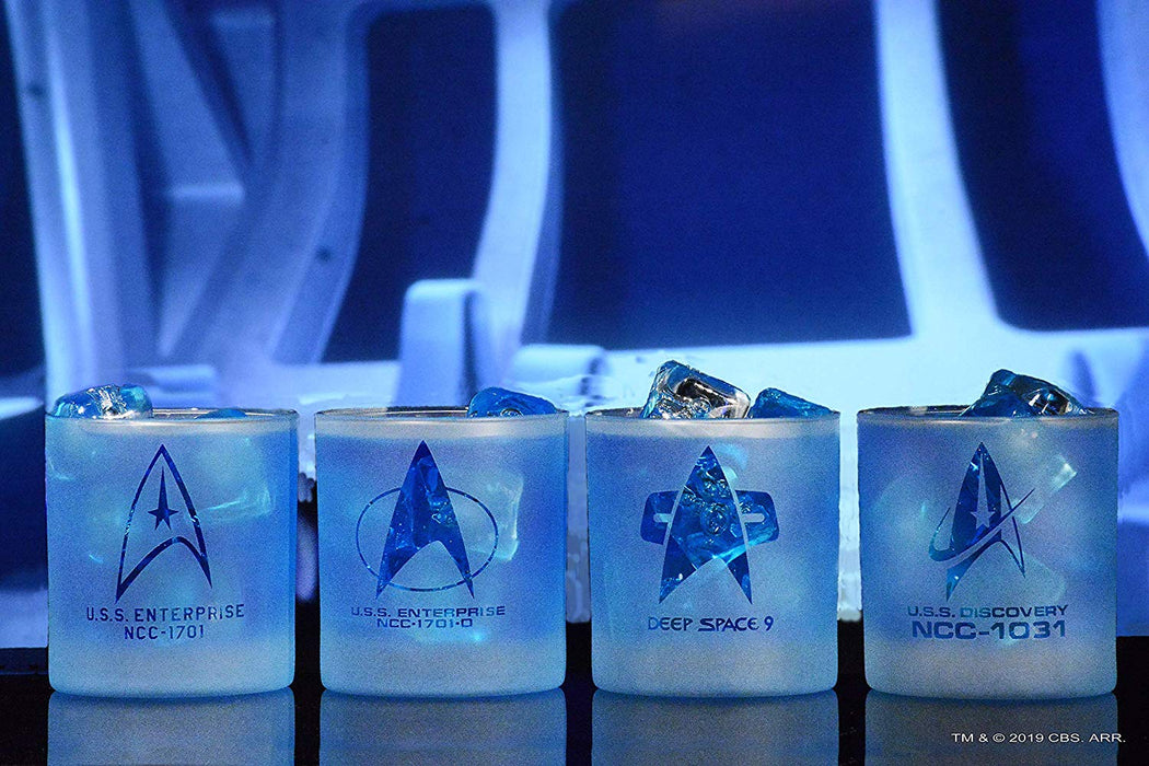 Star Trek Starfleet Command Badges Set Of Four Rocks Glasses Four Different Series Special Edition In Universe™ White Frosted Line Premium Etched By Movies On Glass Includes Four Glasses - 11 Ounces