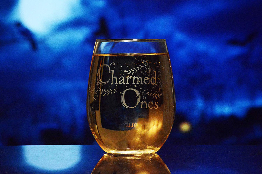 Charmed Ones Stemless Wine Glass Officially Licensed Collectible Premium Etched By Movies On Glass 15 Ounces