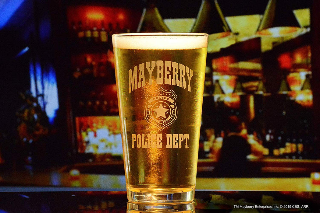 Mayberry Police Department Pint Glass Officially Licensed Collectible Premium Etched By Movies On Glass 15 Ounces