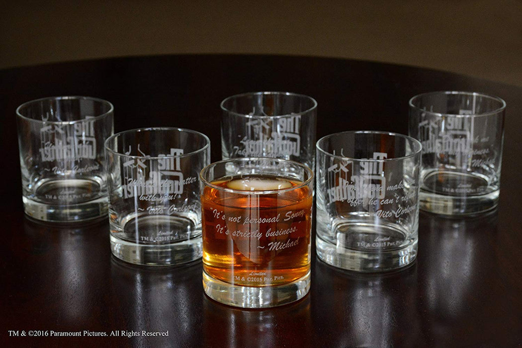 The Godfather Movie Whiskey Glass Set Of Six With Six Unique Godfather Movie Quotes Officially Licensed Collectible Premium Etched By Movies On Glass 11 Ounces