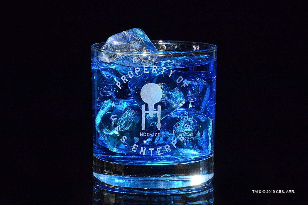 "Star Trek: The Original Series ""Property Of U.S.S. Enterprise"" Rocks Glass Special Edition In Universe™ Classic Line Premium Etched By Movies On Glass Includes One Glass - 11 Ounces"