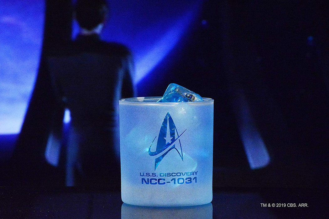 Star Trek: Discovery Starfleet Command Badge Rocks Glass Special Edition In Universe™ White Frosted Line Premium Etched By Movies On Glass Includes One Glass - 11 Ounces