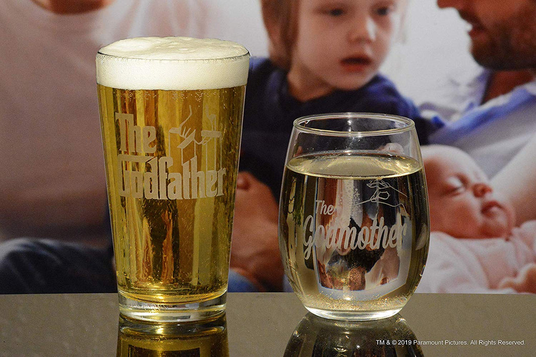 Godparent Gift Pint And Stemless Wine Glass Gift Set Officially Licensed Collectible Premium Etched By Movies On Glass 16 And 15 Ounces
