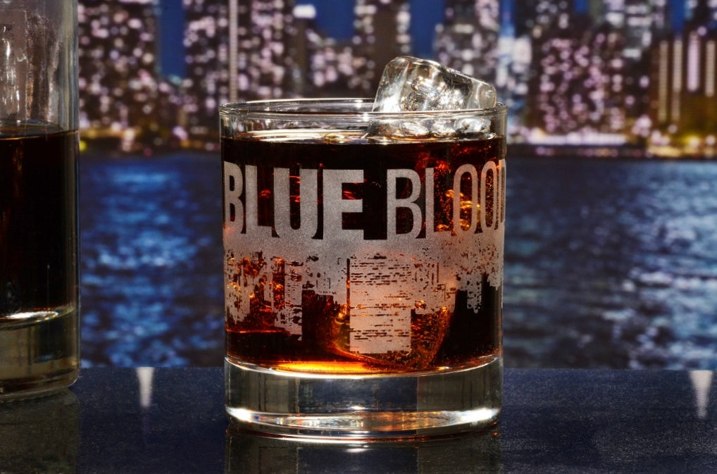 Premium Etched Blue Bloods Engraved Logo Whiskey Glass 11 Ounces