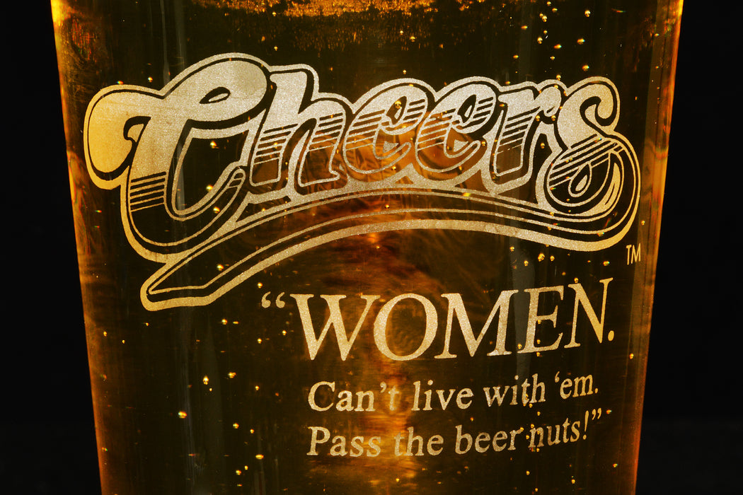 Premium Etched Cheers Engraved Logo Pint Glass 16 Ounces
