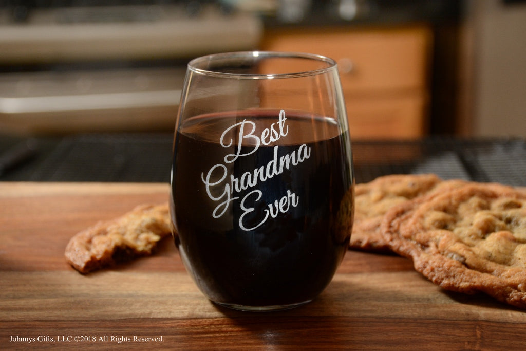 Premium Etched Best Grandma Ever Stemless Wine Glass