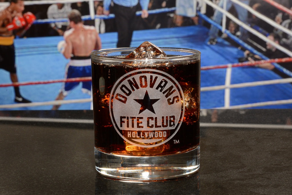 Premium Etched Ray Donovan Fite Club Engraved Logo Whiskey Glass 11 Ounces