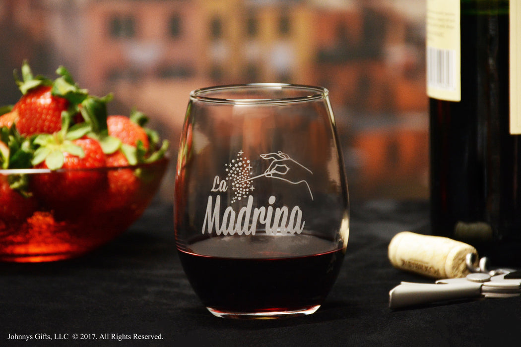 Premium Etched La Madrina Stemless Glass, Matches El Padrino Glass For Padrinos Glass Gift Set