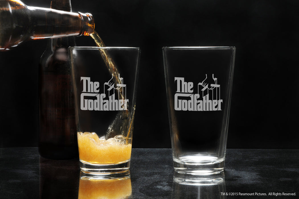 Premium Etched The Godfather Movie Engraved Logo Pint Glass 16 Ounces Godparent Gift