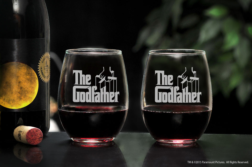 Movies On Glass - Premium Etched The Godfather Movie Engraved Logo Stemless Wine Glass 16 Ounces