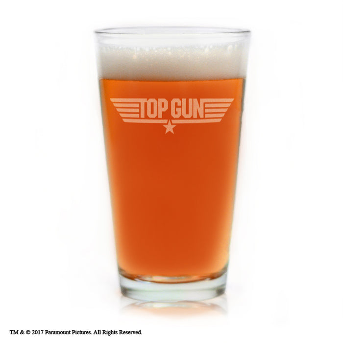 Premium Etched Top Gun Movie Engraved Logo Pint Glass