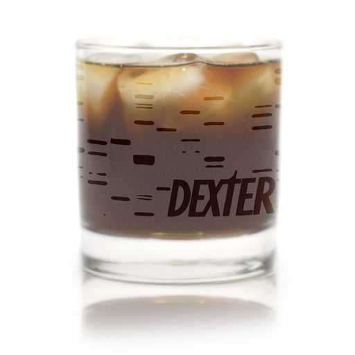 Premium Etched DEXTER Frosted Engraved Logo Rocks Glass 11 Ounces
