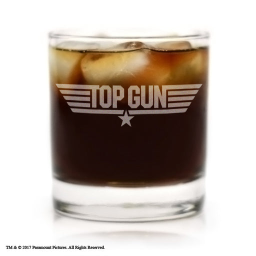 Movies On Glass - Premium Etched Top Gun Movie Engraved Logo Cocktail Glass