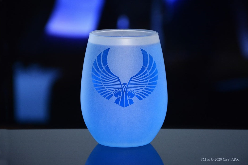 Star Trek Alien Races Set of Four Stemless Wine Glasses Special Edition In-Universe White Frosted Line Premium Etched By Movies On Glass Includes Four Glasses - 15 Ounces