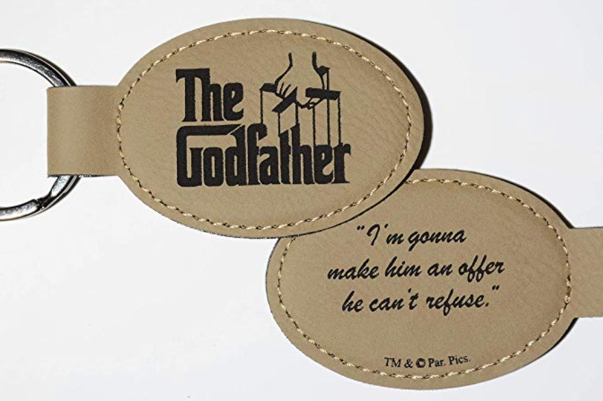 "Godparent Gifts from Godchild for Baptism Christening Gift Godfather Engraved Leatherette Keychain Double-sided With The Godfather Movie Logo And Quote,""I'm gonna make him an offer he can't refuse."""