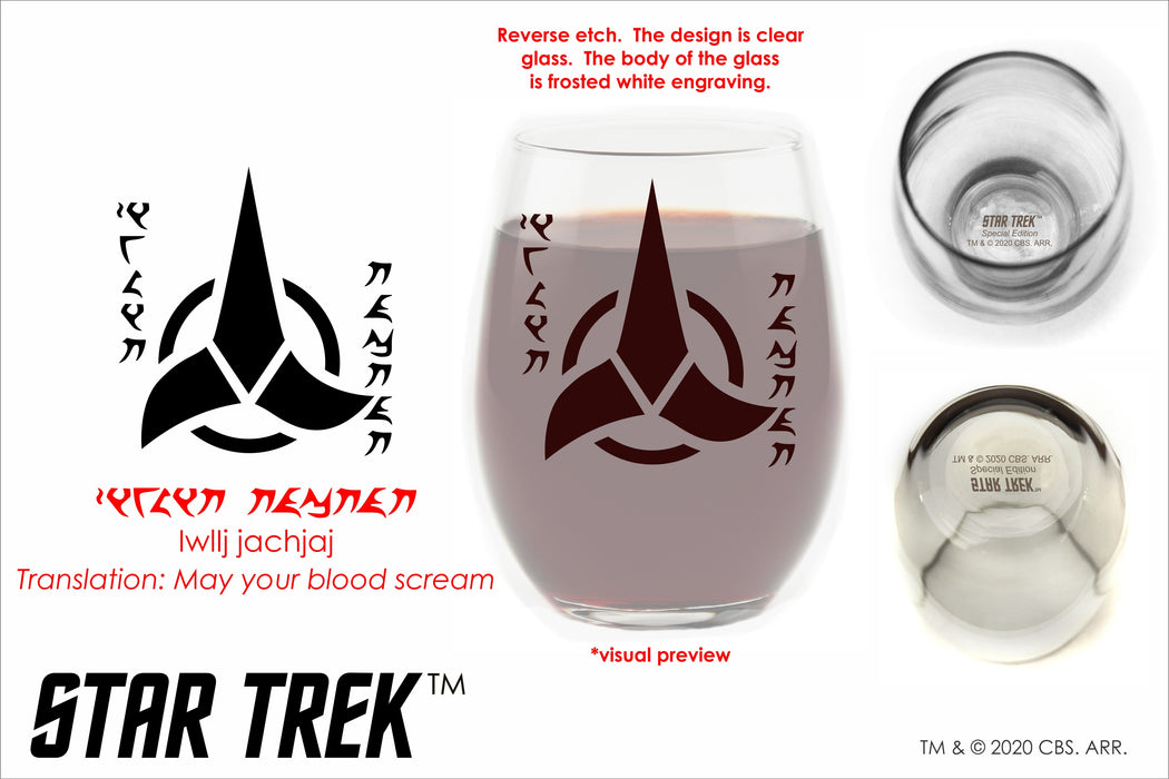"Star Trek Klingon Warrior Bloodwine Toasting Glass with Quote, ""May your blood scream"" (Cheers!) in plqaD Special Edition In-Universe White Frosted Line Premium Etched By Movies On Glass Includes One Glass - 15 Ounces"