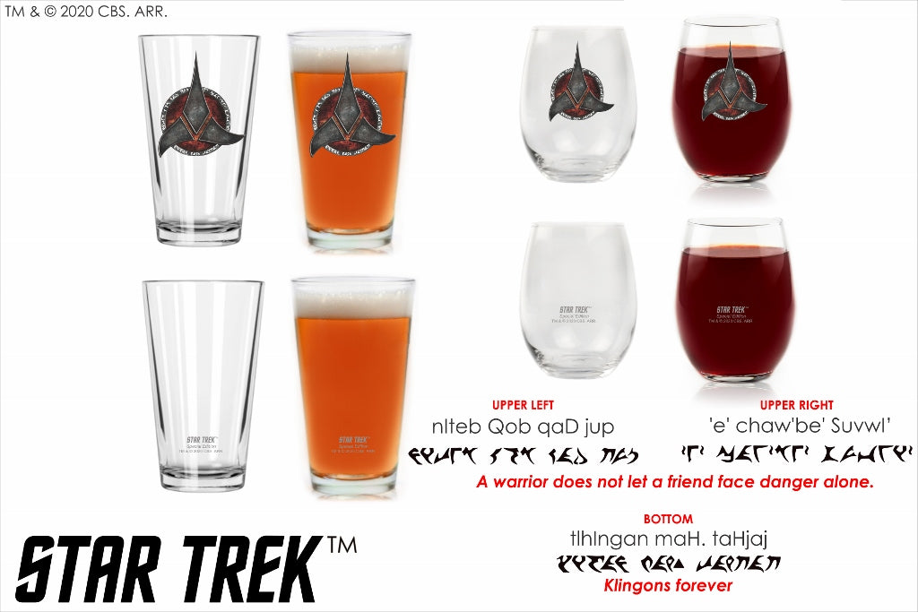 "Star Trek: Klingon Warrior His and Hers Bar Set with Quotes, ""A warrior does not let a friend face danger alone – Klingons forever"" in plqaD Special Edition In Universe Classic Color Line By Movies On Glass Includes Two Glasses – 16 and 15 Ounces"