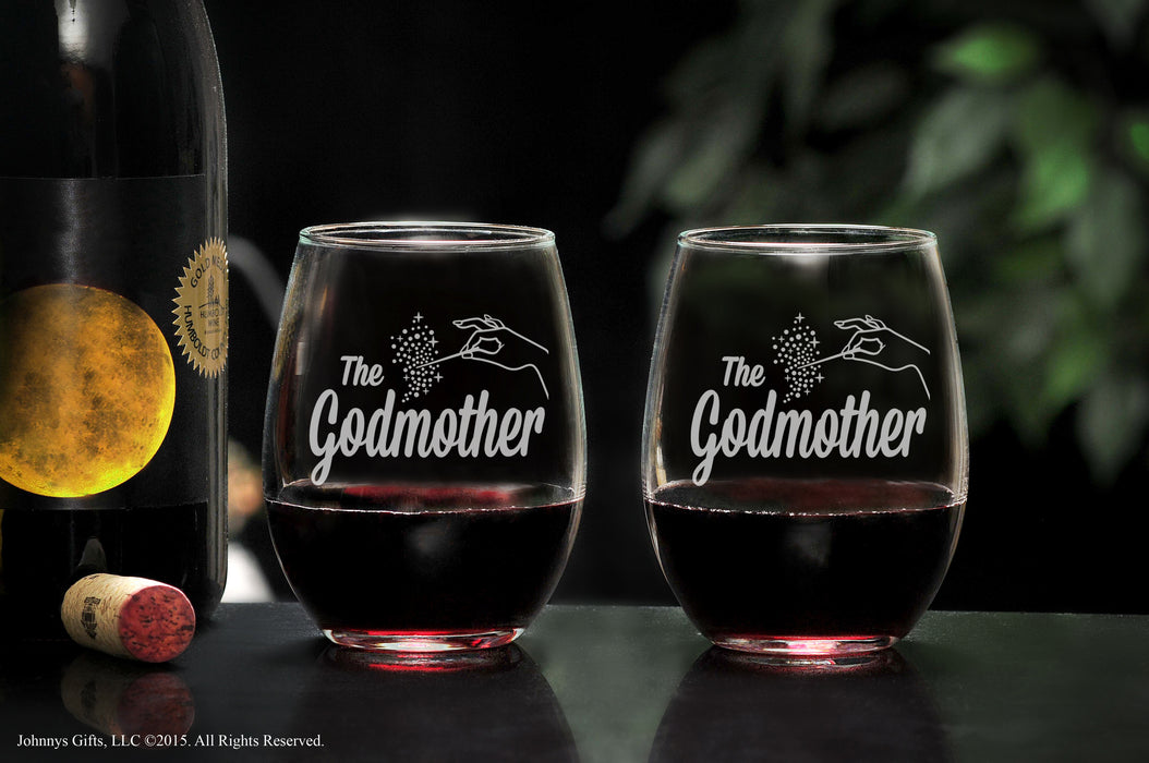 Premium Etched Fairy Godmother Gift Stemless Glass Will You Be My Godmother, Unique Mother's Day