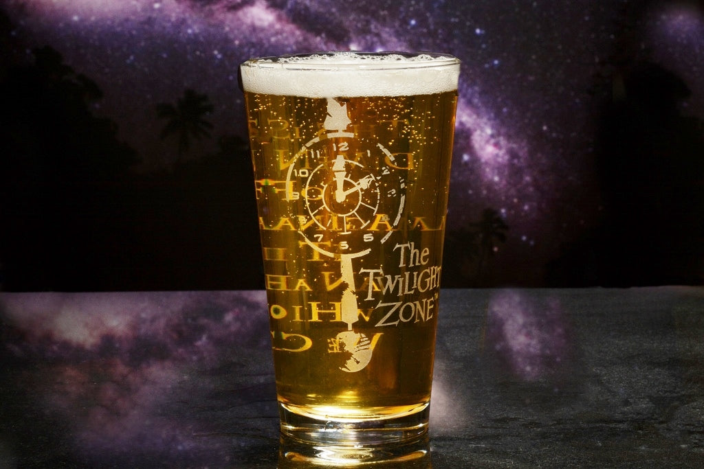 Premium Etched Twilight Zone Engraved Logo Pint Glass 16 Ounces