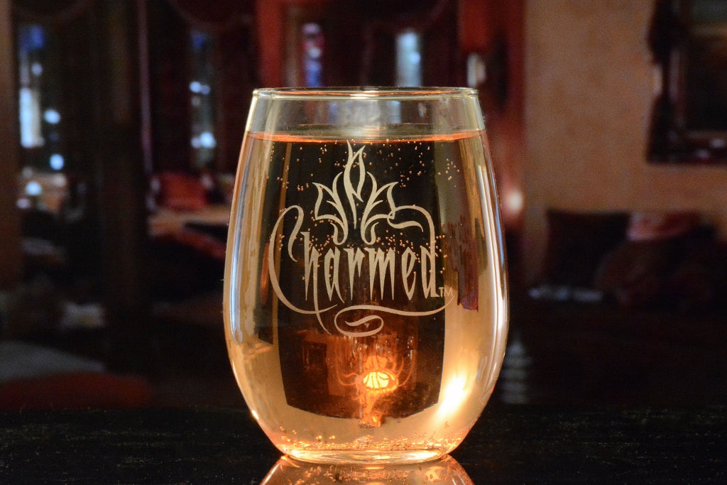 Premium Etched Charmed Engraved Logo Stemless Glass 15 Ounces
