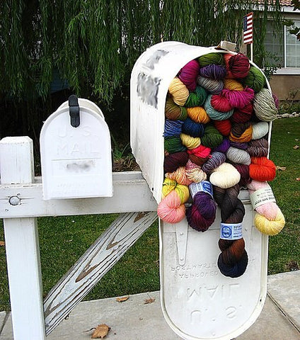 mailbox full of yarn