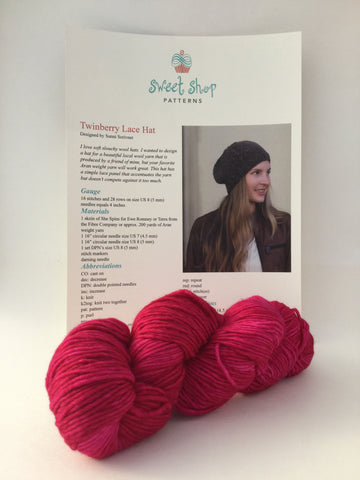 Twinberry Lace hat kit by Sweet Shop Patterns