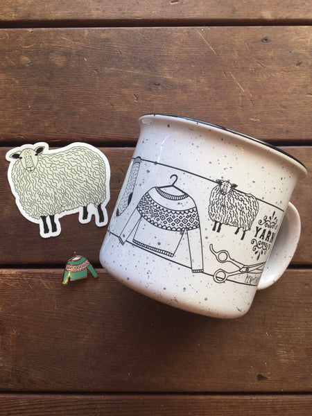 I Love Yarn mug, Fair Isle sweater pin, sheep sticker
