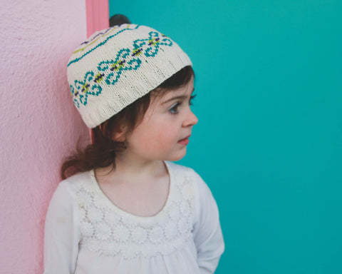 Flutter Fair Isle hat pattern PDF from Sweet Shop Patterns