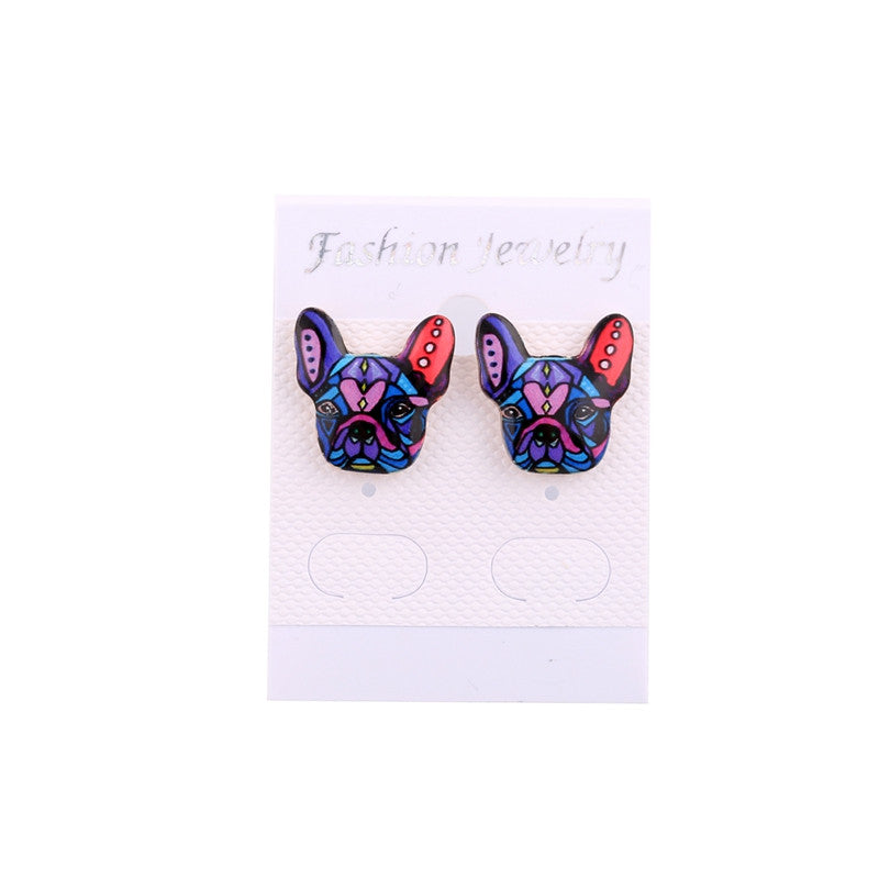 Beautiful Unique French Bulldog Stud Earrings