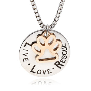 "Unique ""Live&Love&Rescue""Letter Engraved Round Pendant Necklace Gold Dog Necklace Pet Lover Necklace"