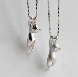Cute cat charm fashion silver cat pendant necklace silver cool cat charm jewelry