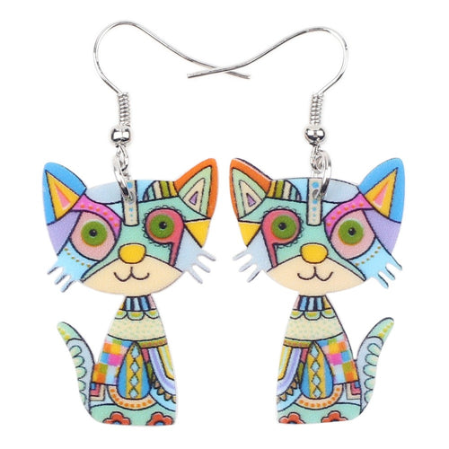 Beautiful Cat Acrylic Earrings Big Long Dangle Earring Fashion Jewelry