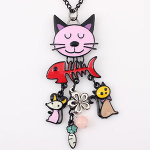 Colorful  French Cat Necklace Enamel Pendant Fish Charm