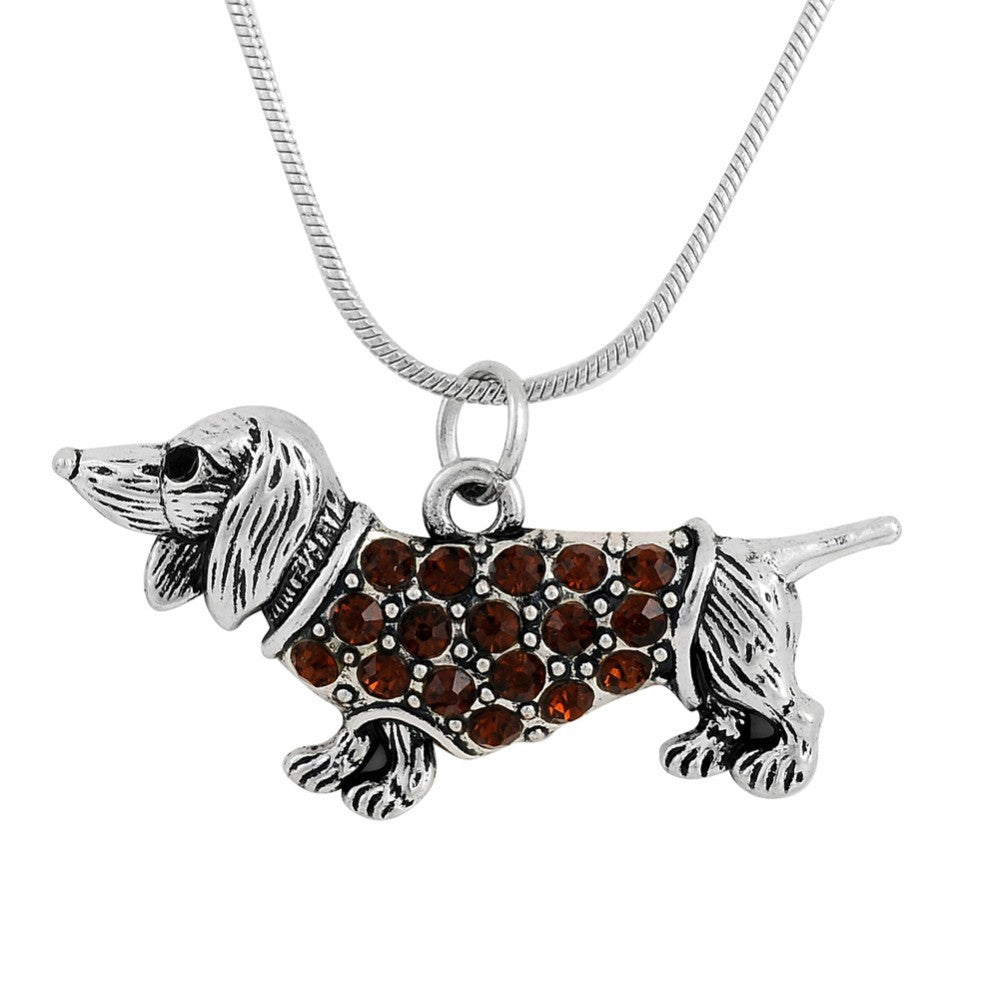 Top seller Dachshund Weenie Pet Dog Breed Silver Plated Necklace Jewelry